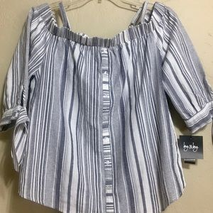 NWT By & By Women's Cotton Striped Top Blouse